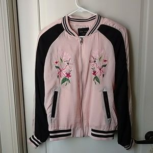 Love Tree Pink Embroidered floral Bomber jacket M
